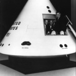 Carpenter, Glenn, & Schirra in a full-scale mock up of the CM