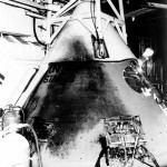 Exterior of the Command Module was blackened from eruption of the fire after the cabin wall failed