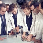 Scientist observing lunar Tortoises