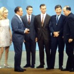 Barbara Eden, Bob Hope, Paul Haney, and the crew of Apollo 7