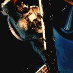Schweickart on the porch of the Lunar Module