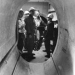 Apollo 10 crew inspect the emergency slide
